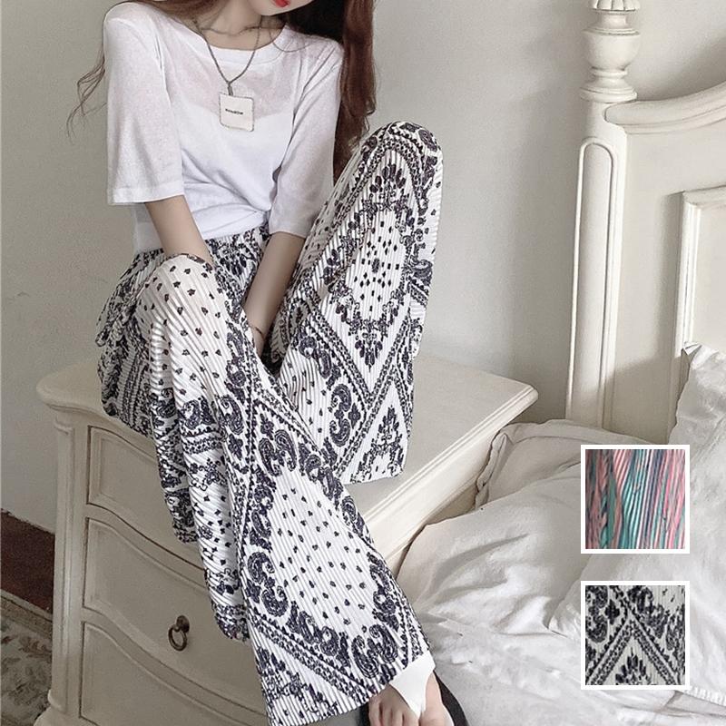 韓国 ファッション セットアップ 春 夏 カジュアル PTXK352  背中見せ ゆったり ドレープ プリーツ ワイド オルチャン シンプル 定番 セレカジの写真1枚目