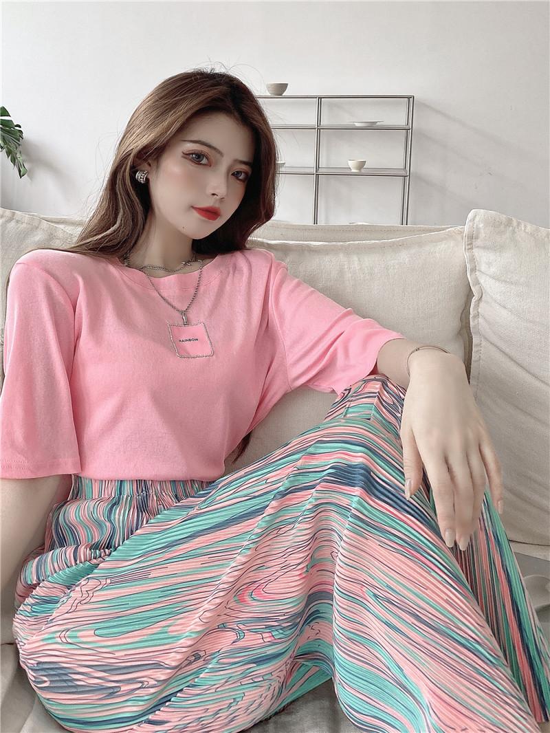 韓国 ファッション セットアップ 春 夏 カジュアル PTXK352  背中見せ ゆったり ドレープ プリーツ ワイド オルチャン シンプル 定番 セレカジの写真7枚目