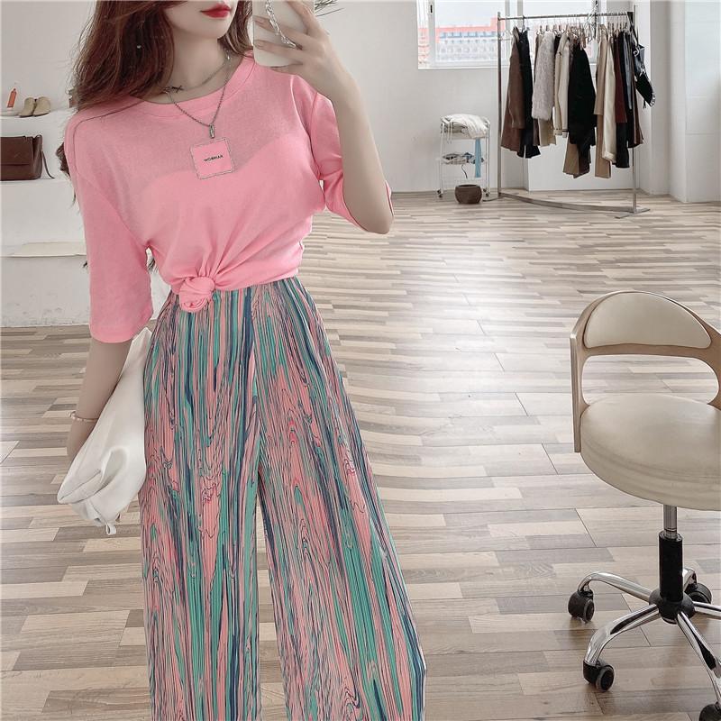 韓国 ファッション セットアップ 春 夏 カジュアル PTXK352  背中見せ ゆったり ドレープ プリーツ ワイド オルチャン シンプル 定番 セレカジの写真10枚目