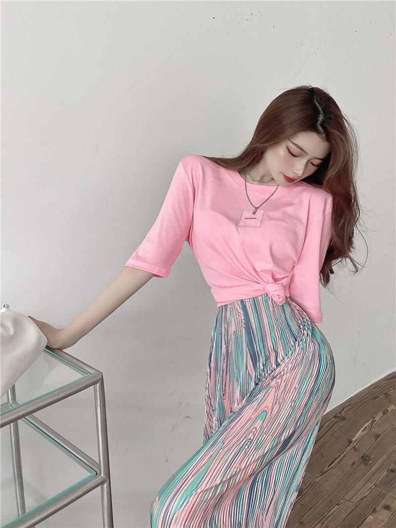韓国 ファッション セットアップ 春 夏 カジュアル PTXK352  背中見せ ゆったり ドレープ プリーツ ワイド オルチャン シンプル 定番 セレカジの写真11枚目