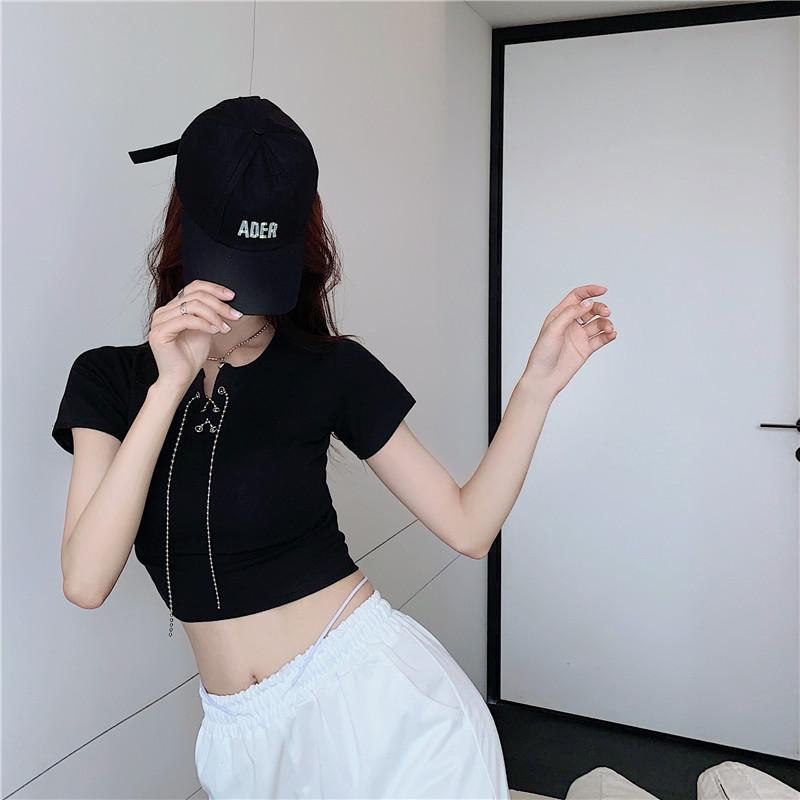 韓国 ファッション トップス Tシャツ カットソー 春 夏 カジュアル PTXK353  チェーン レースアップ タイト目 Tシャツ オルチャン シンプル 定番 セレカジの写真9枚目