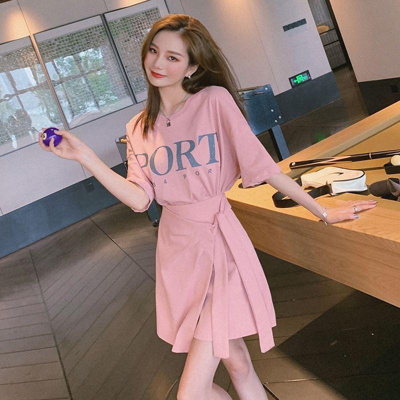 韓国 ファッション セットアップ 春 夏 カジュアル PTXK364  オーバーサイズ ロゴTシャツ ラップ風 ミニ オルチャン シンプル 定番 セレカジの写真3枚目