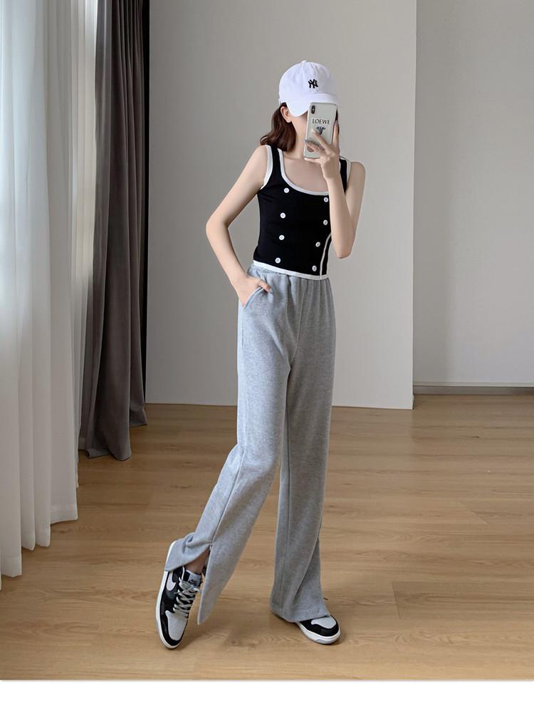 韓国 ファッション パンツ ボトムス 春 夏 秋 カジュアル PTXK406  スリット ワイドパンツ ジャージ スウェット オルチャン シンプル 定番 セレカジの写真6枚目