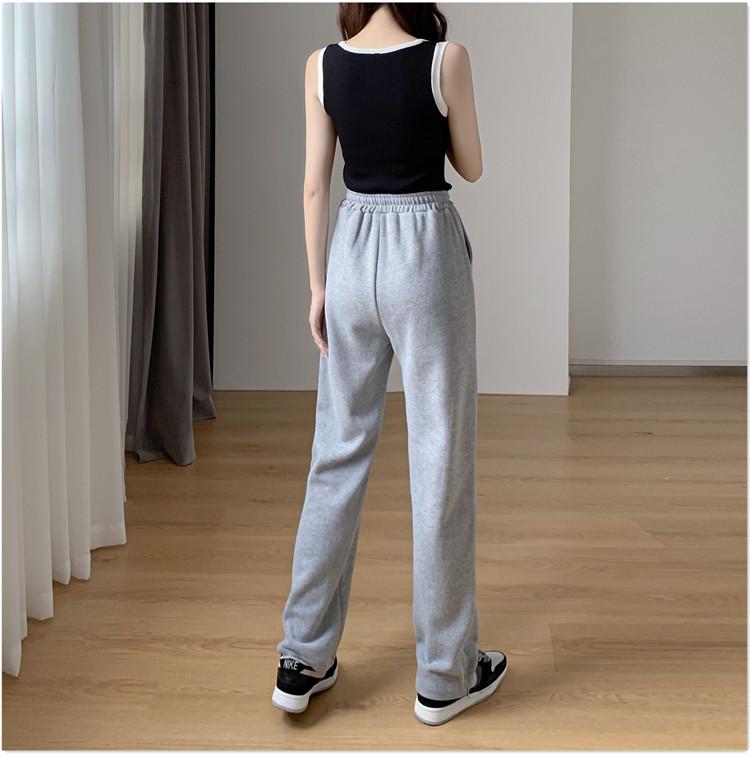 韓国 ファッション パンツ ボトムス 春 夏 秋 カジュアル PTXK406  スリット ワイドパンツ ジャージ スウェット オルチャン シンプル 定番 セレカジの写真8枚目