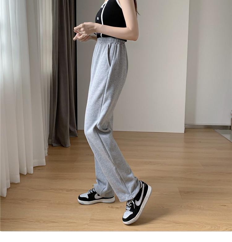 韓国 ファッション パンツ ボトムス 春 夏 秋 カジュアル PTXK406  スリット ワイドパンツ ジャージ スウェット オルチャン シンプル 定番 セレカジの写真9枚目