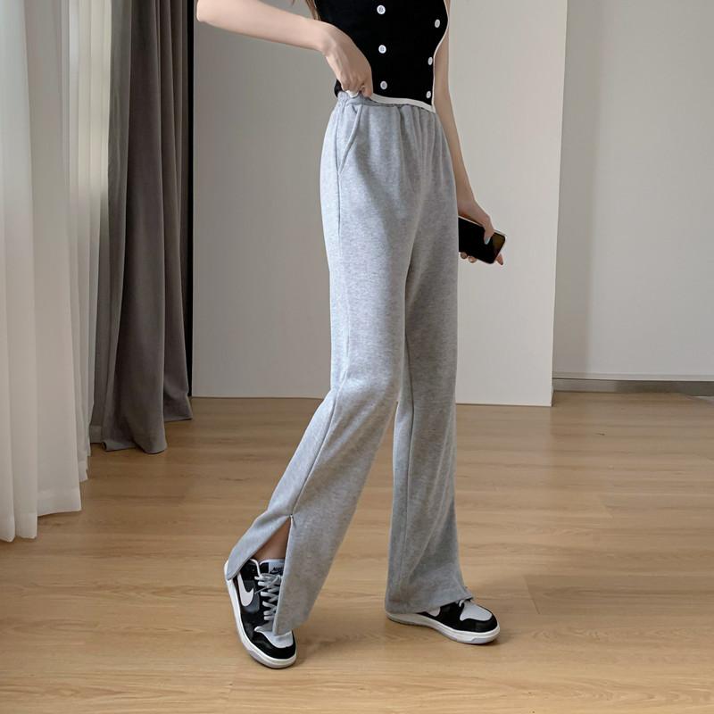 韓国 ファッション パンツ ボトムス 春 夏 秋 カジュアル PTXK406  スリット ワイドパンツ ジャージ スウェット オルチャン シンプル 定番 セレカジの写真10枚目