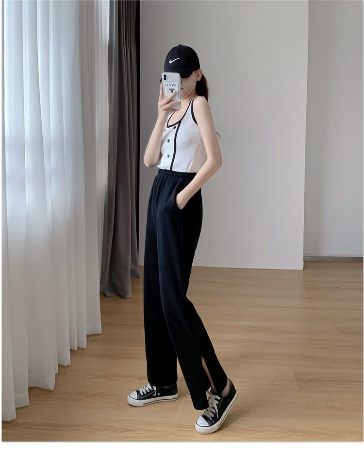 韓国 ファッション パンツ ボトムス 春 夏 秋 カジュアル PTXK406  スリット ワイドパンツ ジャージ スウェット オルチャン シンプル 定番 セレカジの写真11枚目