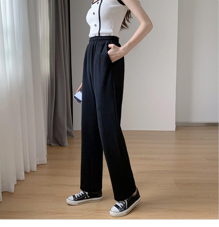 韓国 ファッション パンツ ボトムス 春 夏 秋 カジュアル PTXK406  スリット ワイドパンツ ジャージ スウェット オルチャン シンプル 定番 セレカジの写真12枚目