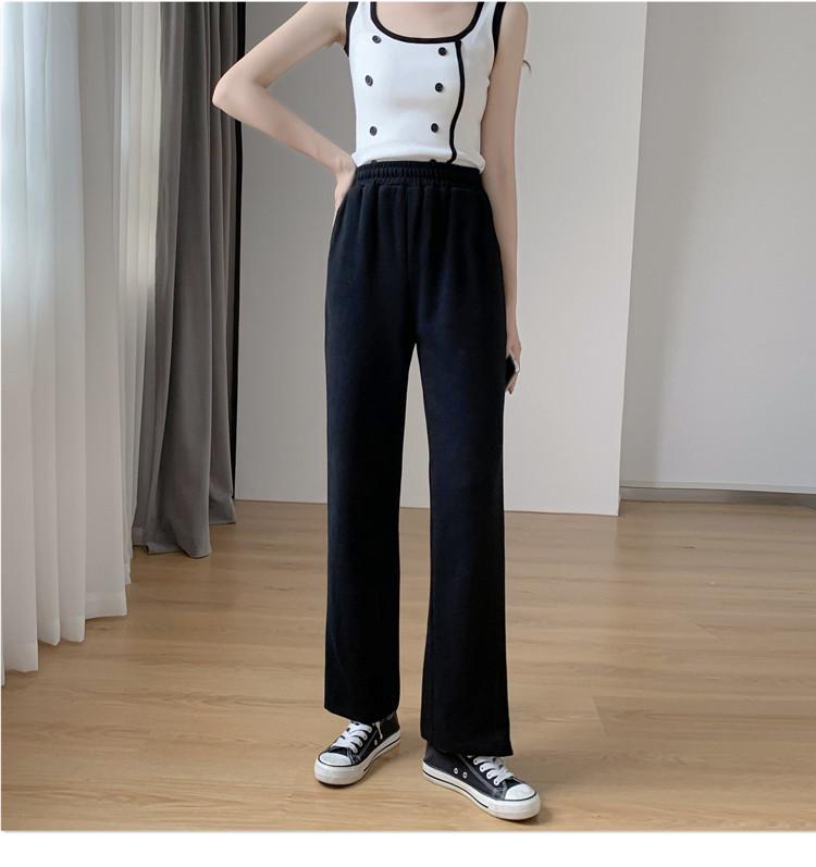 韓国 ファッション パンツ ボトムス 春 夏 秋 カジュアル PTXK406  スリット ワイドパンツ ジャージ スウェット オルチャン シンプル 定番 セレカジの写真13枚目