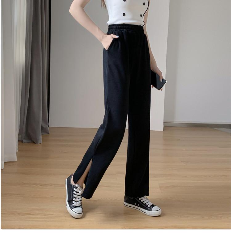 韓国 ファッション パンツ ボトムス 春 夏 秋 カジュアル PTXK406  スリット ワイドパンツ ジャージ スウェット オルチャン シンプル 定番 セレカジの写真14枚目