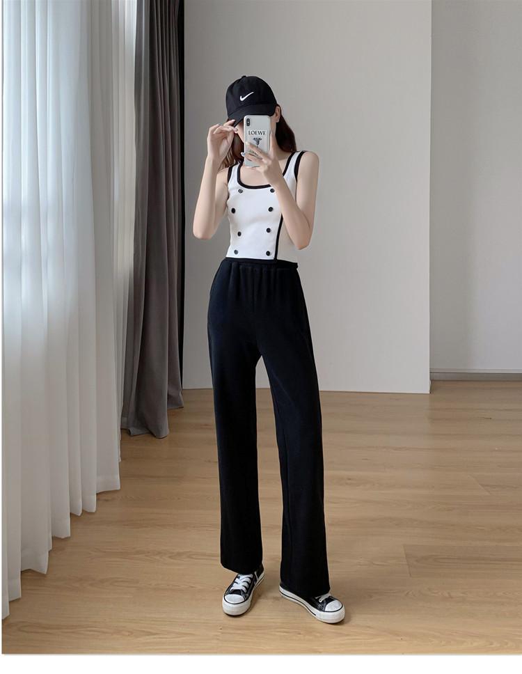 韓国 ファッション パンツ ボトムス 春 夏 秋 カジュアル PTXK406  スリット ワイドパンツ ジャージ スウェット オルチャン シンプル 定番 セレカジの写真15枚目