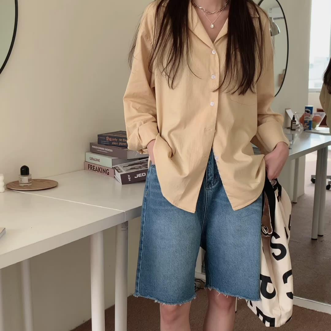 韓国 ファッション セットアップ 春 夏 カジュアル PTXK500  カットオフデニム ハーフパンツ オーバーサイズ オルチャン シンプル 定番 セレカジの写真2枚目
