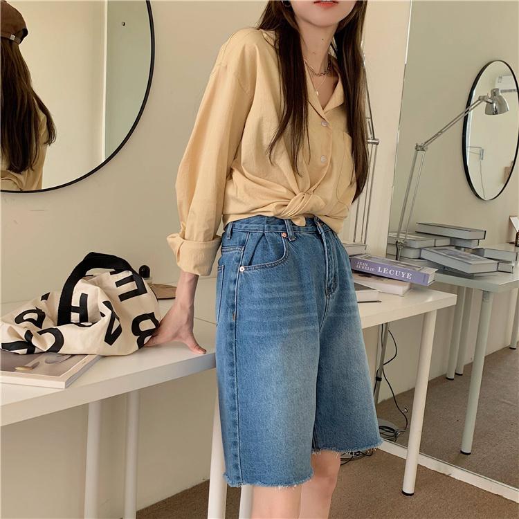 韓国 ファッション セットアップ 春 夏 カジュアル PTXK500  カットオフデニム ハーフパンツ オーバーサイズ オルチャン シンプル 定番 セレカジの写真3枚目