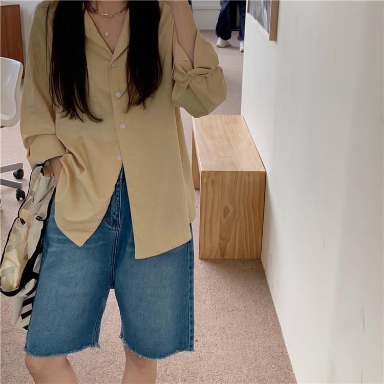 韓国 ファッション セットアップ 春 夏 カジュアル PTXK500  カットオフデニム ハーフパンツ オーバーサイズ オルチャン シンプル 定番 セレカジの写真4枚目