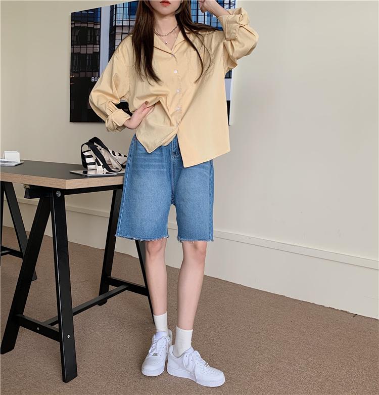 韓国 ファッション セットアップ 春 夏 カジュアル PTXK500  カットオフデニム ハーフパンツ オーバーサイズ オルチャン シンプル 定番 セレカジの写真5枚目