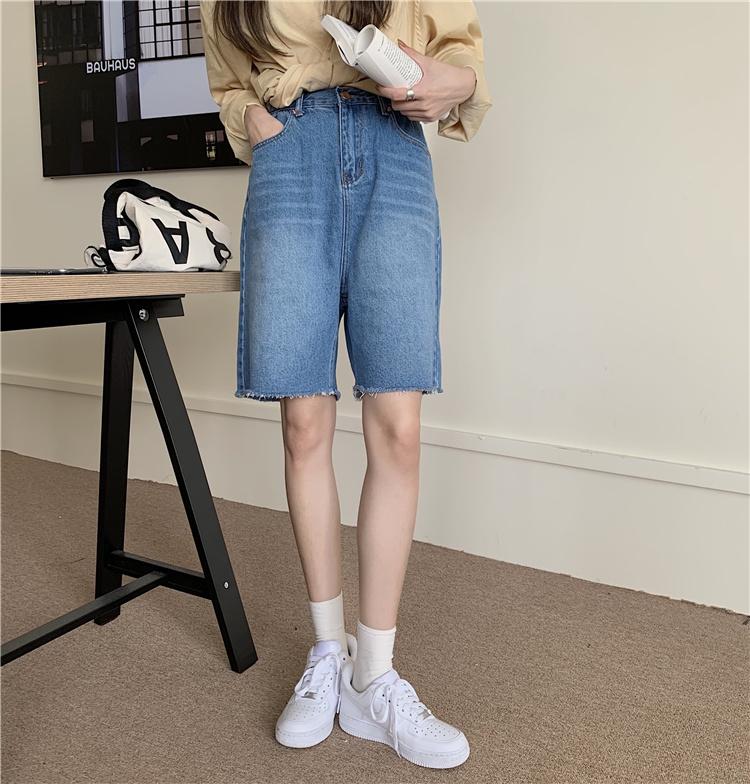 韓国 ファッション セットアップ 春 夏 カジュアル PTXK500  カットオフデニム ハーフパンツ オーバーサイズ オルチャン シンプル 定番 セレカジの写真6枚目