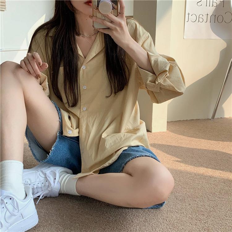 韓国 ファッション セットアップ 春 夏 カジュアル PTXK500  カットオフデニム ハーフパンツ オーバーサイズ オルチャン シンプル 定番 セレカジの写真13枚目