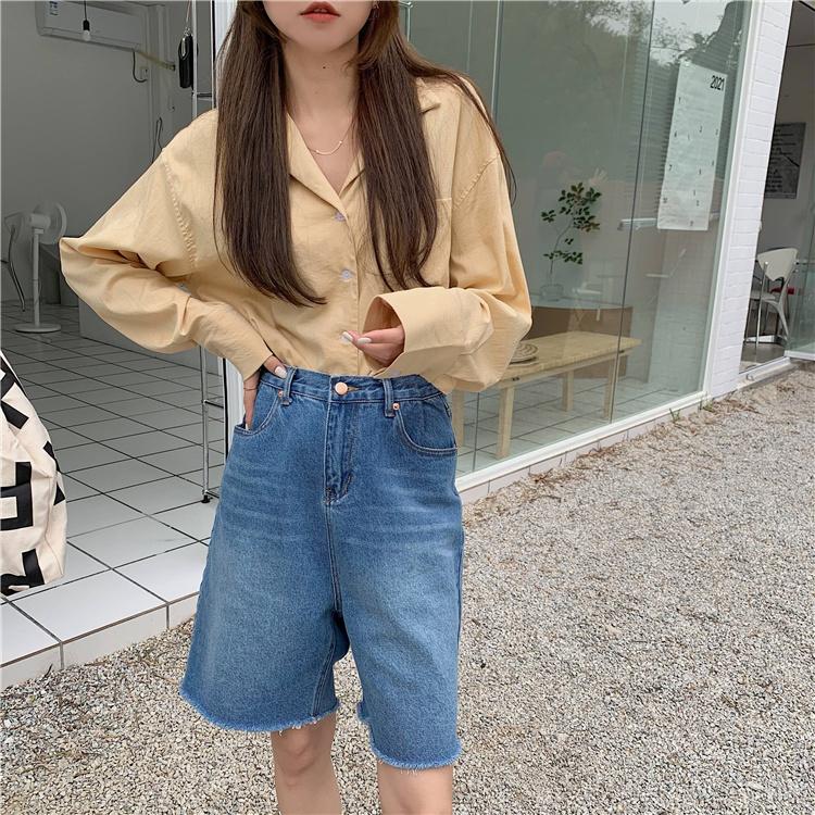 韓国 ファッション セットアップ 春 夏 カジュアル PTXK500  カットオフデニム ハーフパンツ オーバーサイズ オルチャン シンプル 定番 セレカジの写真15枚目