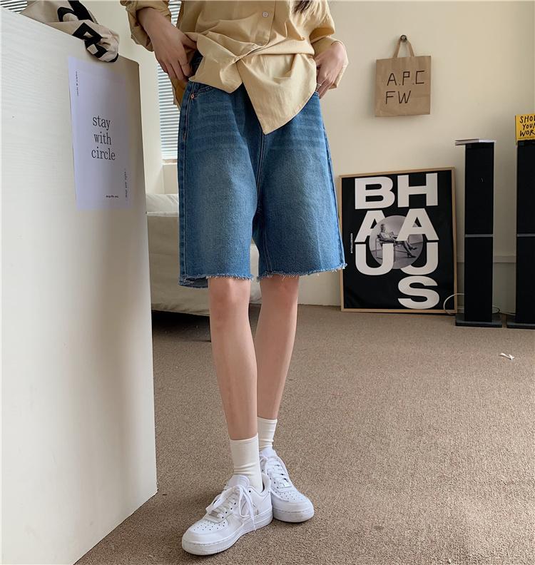 韓国 ファッション セットアップ 春 夏 カジュアル PTXK500  カットオフデニム ハーフパンツ オーバーサイズ オルチャン シンプル 定番 セレカジの写真19枚目