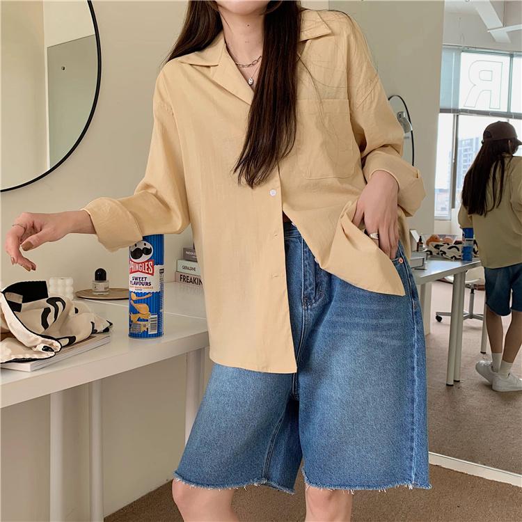 韓国 ファッション セットアップ 春 夏 カジュアル PTXK500  カットオフデニム ハーフパンツ オーバーサイズ オルチャン シンプル 定番 セレカジの写真20枚目
