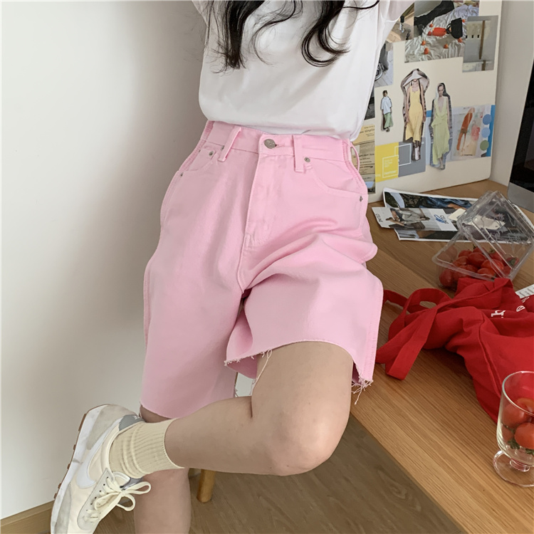 韓国 ファッション パンツ ショート ボトムス 春 夏 カジュアル PTXK551  カットオフデニム 淡色 ハーフパンツ ショート オルチャン シンプル 定番 セレカジの写真2枚目