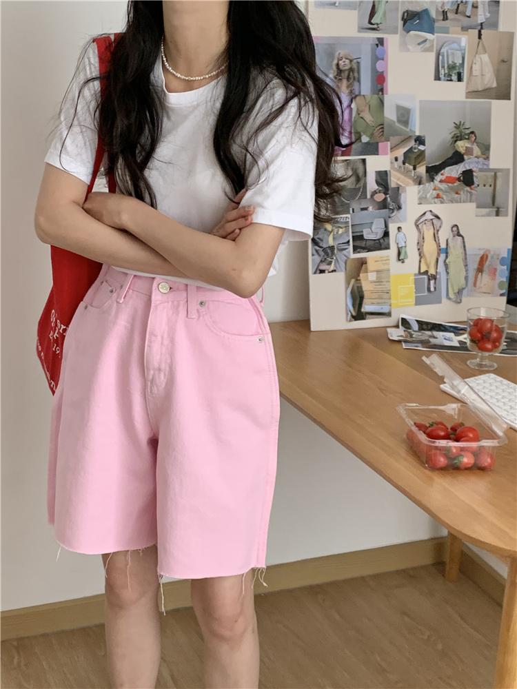 韓国 ファッション パンツ ショート ボトムス 春 夏 カジュアル PTXK551  カットオフデニム 淡色 ハーフパンツ ショート オルチャン シンプル 定番 セレカジの写真3枚目
