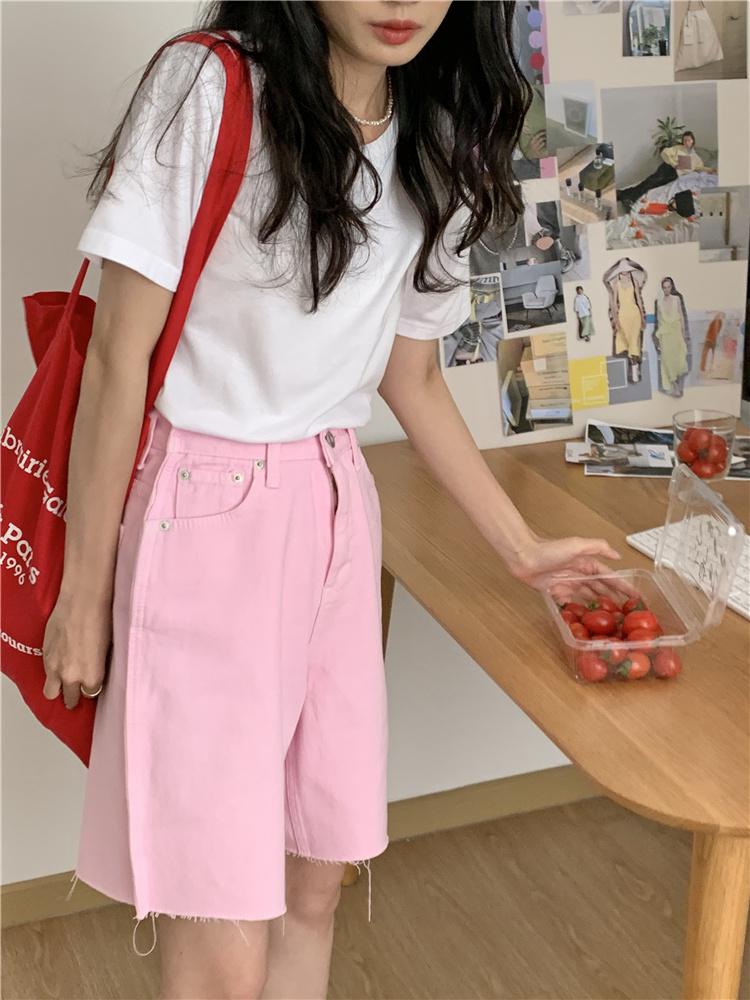 韓国 ファッション パンツ ショート ボトムス 春 夏 カジュアル PTXK551  カットオフデニム 淡色 ハーフパンツ ショート オルチャン シンプル 定番 セレカジの写真4枚目