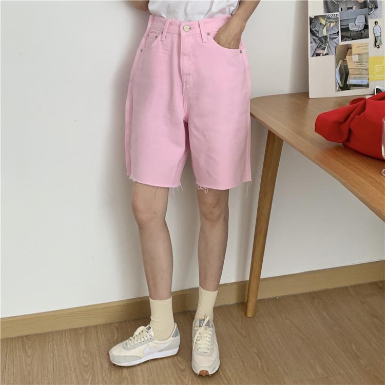 韓国 ファッション パンツ ショート ボトムス 春 夏 カジュアル PTXK551  カットオフデニム 淡色 ハーフパンツ ショート オルチャン シンプル 定番 セレカジの写真5枚目