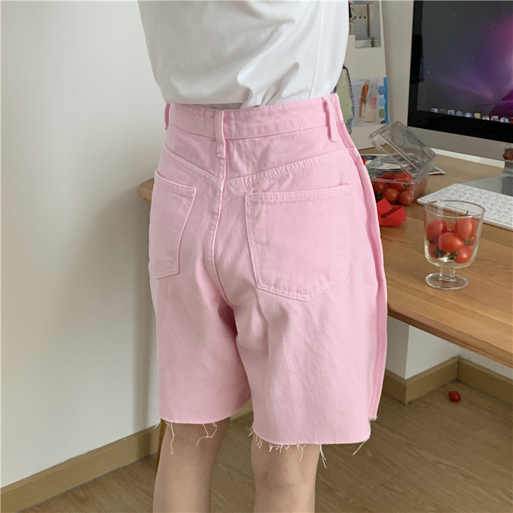 韓国 ファッション パンツ ショート ボトムス 春 夏 カジュアル PTXK551  カットオフデニム 淡色 ハーフパンツ ショート オルチャン シンプル 定番 セレカジの写真6枚目