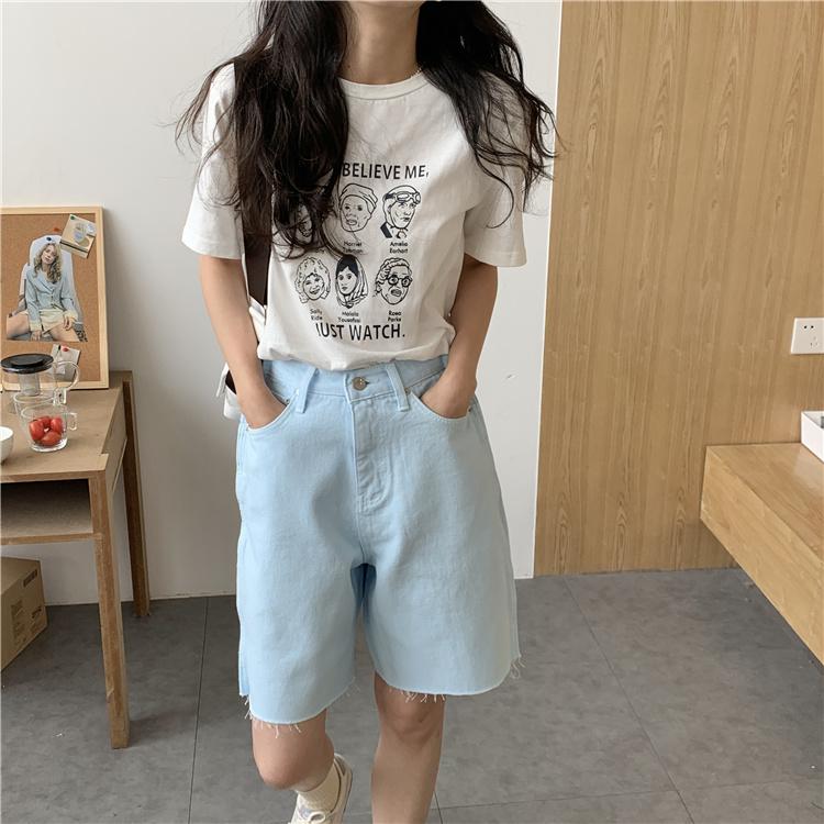 韓国 ファッション パンツ ショート ボトムス 春 夏 カジュアル PTXK551  カットオフデニム 淡色 ハーフパンツ ショート オルチャン シンプル 定番 セレカジの写真7枚目
