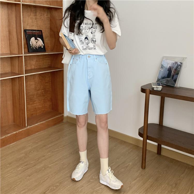 韓国 ファッション パンツ ショート ボトムス 春 夏 カジュアル PTXK551  カットオフデニム 淡色 ハーフパンツ ショート オルチャン シンプル 定番 セレカジの写真8枚目