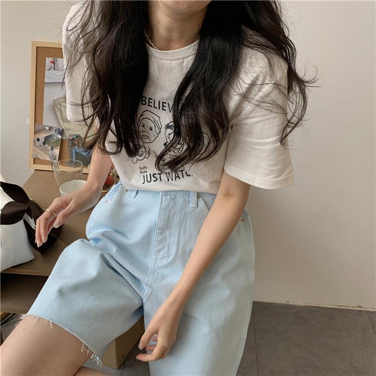 韓国 ファッション パンツ ショート ボトムス 春 夏 カジュアル PTXK551  カットオフデニム 淡色 ハーフパンツ ショート オルチャン シンプル 定番 セレカジの写真9枚目