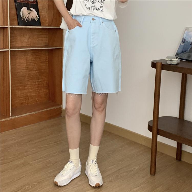 韓国 ファッション パンツ ショート ボトムス 春 夏 カジュアル PTXK551  カットオフデニム 淡色 ハーフパンツ ショート オルチャン シンプル 定番 セレカジの写真12枚目