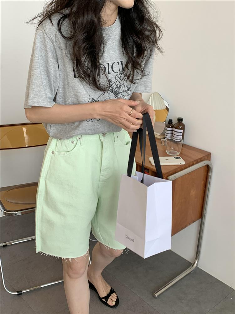 韓国 ファッション パンツ ショート ボトムス 春 夏 カジュアル PTXK551  カットオフデニム 淡色 ハーフパンツ ショート オルチャン シンプル 定番 セレカジの写真13枚目