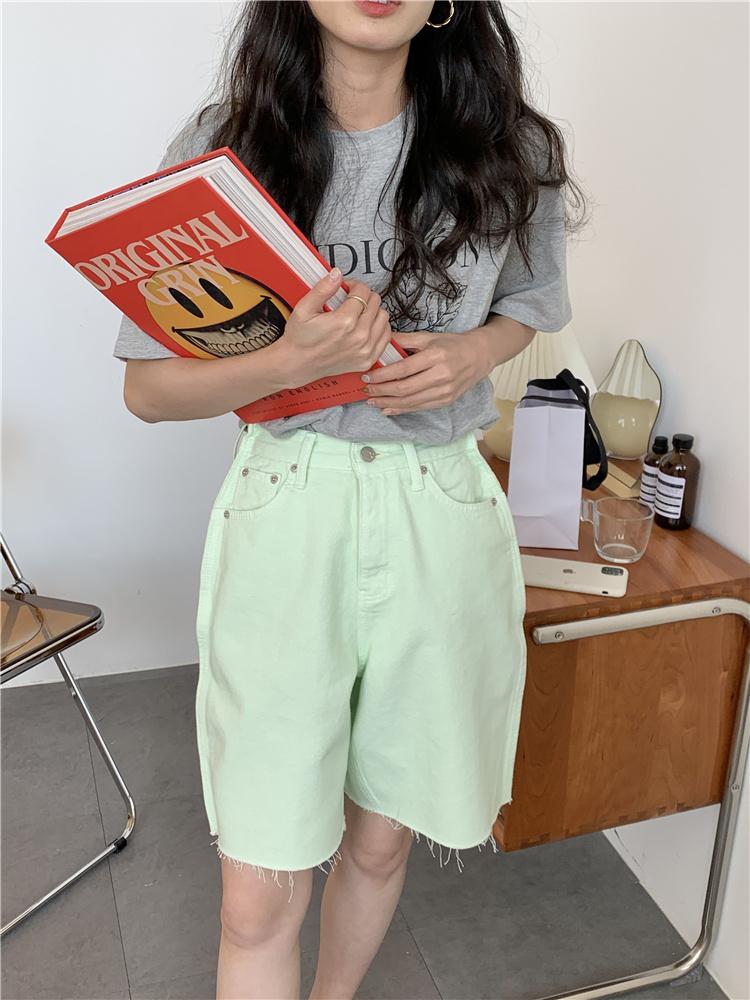 韓国 ファッション パンツ ショート ボトムス 春 夏 カジュアル PTXK551  カットオフデニム 淡色 ハーフパンツ ショート オルチャン シンプル 定番 セレカジの写真14枚目