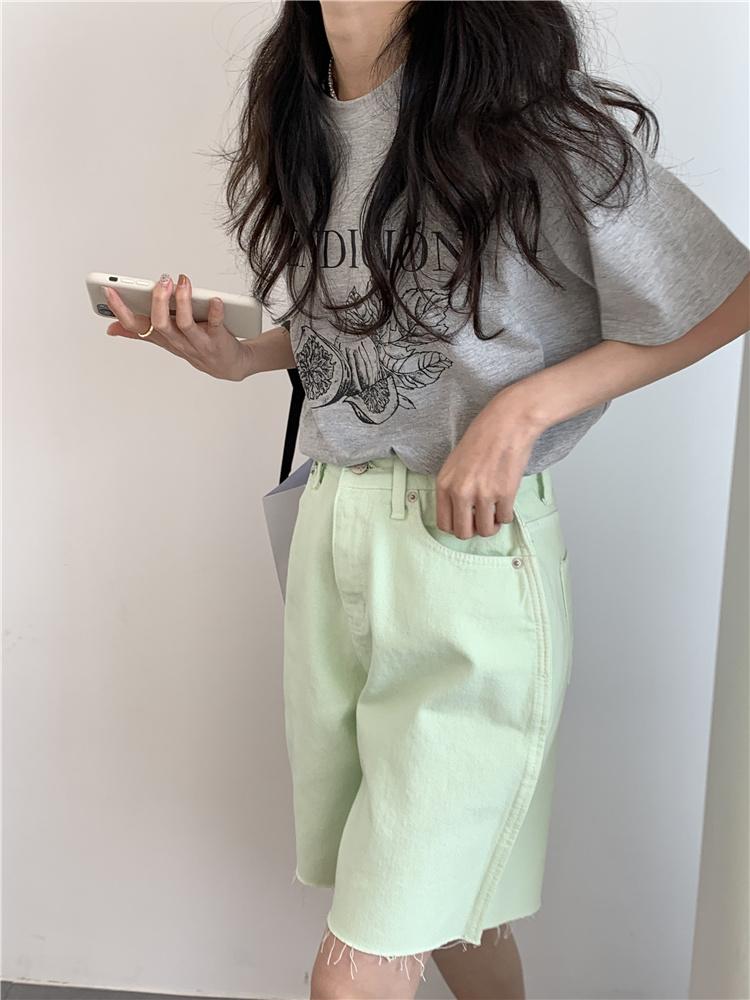 韓国 ファッション パンツ ショート ボトムス 春 夏 カジュアル PTXK551  カットオフデニム 淡色 ハーフパンツ ショート オルチャン シンプル 定番 セレカジの写真15枚目
