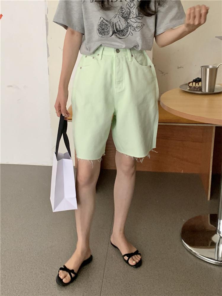 韓国 ファッション パンツ ショート ボトムス 春 夏 カジュアル PTXK551  カットオフデニム 淡色 ハーフパンツ ショート オルチャン シンプル 定番 セレカジの写真16枚目