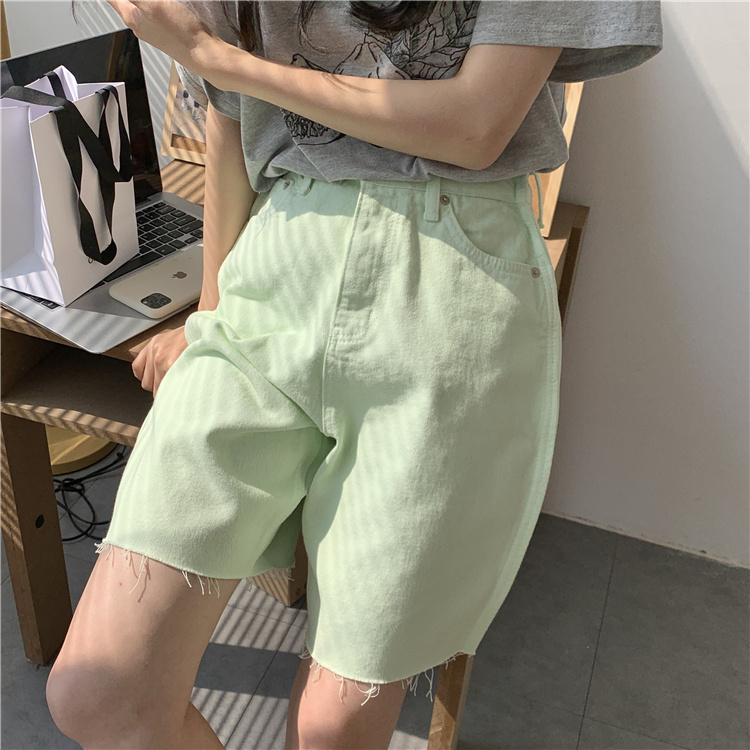 韓国 ファッション パンツ ショート ボトムス 春 夏 カジュアル PTXK551  カットオフデニム 淡色 ハーフパンツ ショート オルチャン シンプル 定番 セレカジの写真17枚目