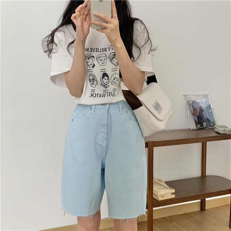 韓国 ファッション パンツ ショート ボトムス 春 夏 カジュアル PTXK551  カットオフデニム 淡色 ハーフパンツ ショート オルチャン シンプル 定番 セレカジの写真18枚目