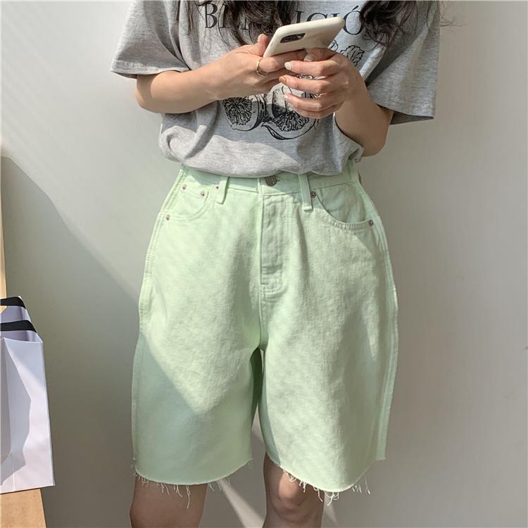 韓国 ファッション パンツ ショート ボトムス 春 夏 カジュアル PTXK551  カットオフデニム 淡色 ハーフパンツ ショート オルチャン シンプル 定番 セレカジの写真19枚目