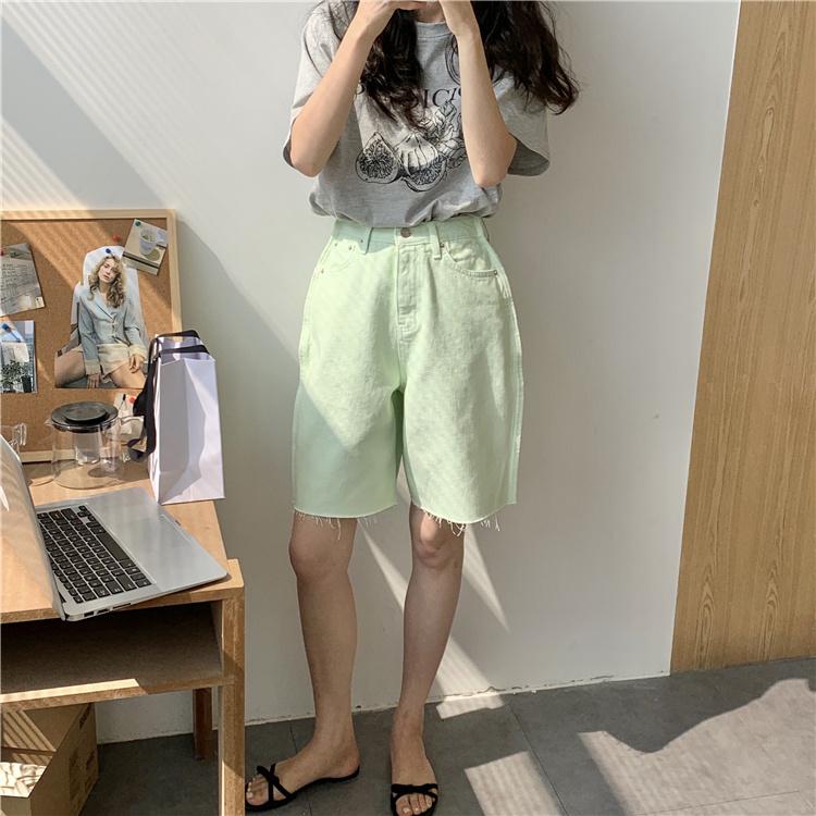 韓国 ファッション パンツ ショート ボトムス 春 夏 カジュアル PTXK551  カットオフデニム 淡色 ハーフパンツ ショート オルチャン シンプル 定番 セレカジの写真20枚目