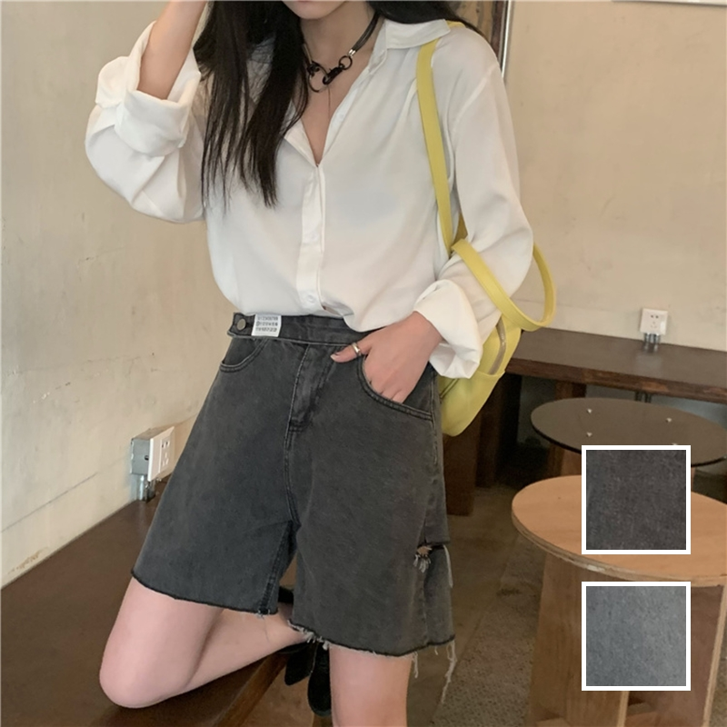 韓国 ファッション パンツ ショート ボトムス 春 夏 カジュアル PTXK553  カットオフデニム ダメージ アシメ ゆったり オルチャン シンプル 定番 セレカジの写真1枚目