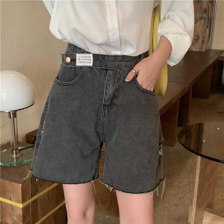 韓国 ファッション パンツ ショート ボトムス 春 夏 カジュアル PTXK553  カットオフデニム ダメージ アシメ ゆったり オルチャン シンプル 定番 セレカジの写真2枚目