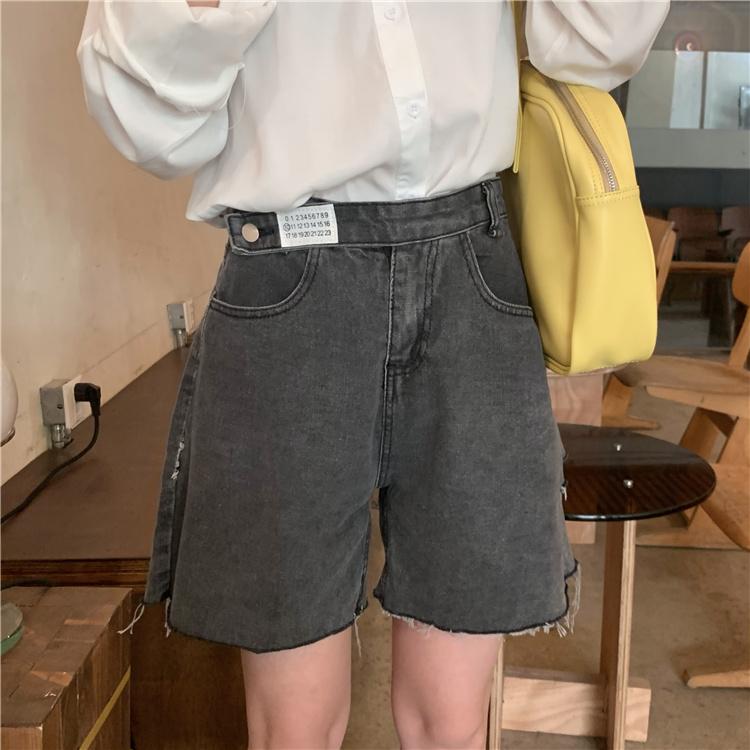 韓国 ファッション パンツ ショート ボトムス 春 夏 カジュアル PTXK553  カットオフデニム ダメージ アシメ ゆったり オルチャン シンプル 定番 セレカジの写真3枚目