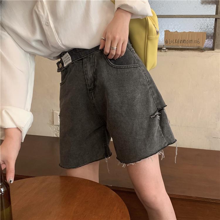 韓国 ファッション パンツ ショート ボトムス 春 夏 カジュアル PTXK553  カットオフデニム ダメージ アシメ ゆったり オルチャン シンプル 定番 セレカジの写真4枚目