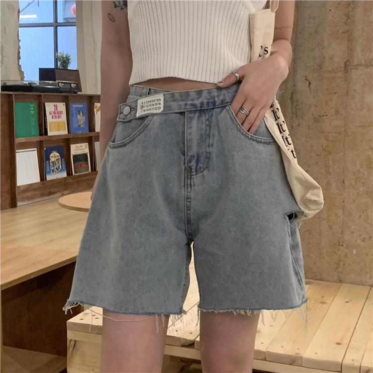 韓国 ファッション パンツ ショート ボトムス 春 夏 カジュアル PTXK553  カットオフデニム ダメージ アシメ ゆったり オルチャン シンプル 定番 セレカジの写真5枚目