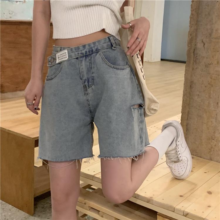 韓国 ファッション パンツ ショート ボトムス 春 夏 カジュアル PTXK553  カットオフデニム ダメージ アシメ ゆったり オルチャン シンプル 定番 セレカジの写真6枚目