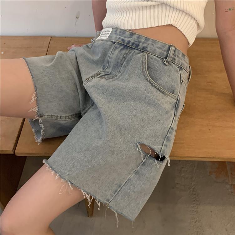 韓国 ファッション パンツ ショート ボトムス 春 夏 カジュアル PTXK553  カットオフデニム ダメージ アシメ ゆったり オルチャン シンプル 定番 セレカジの写真7枚目