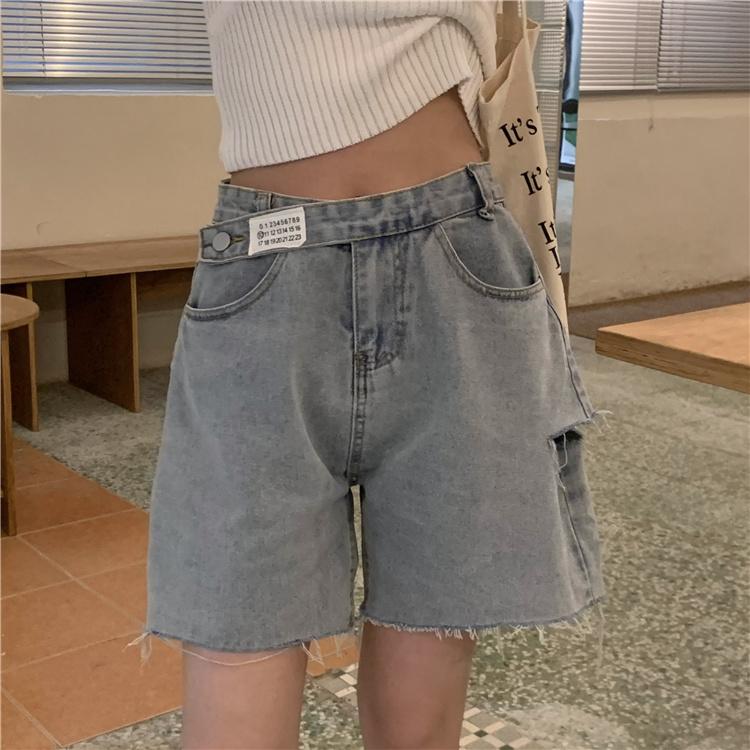 韓国 ファッション パンツ ショート ボトムス 春 夏 カジュアル PTXK553  カットオフデニム ダメージ アシメ ゆったり オルチャン シンプル 定番 セレカジの写真8枚目