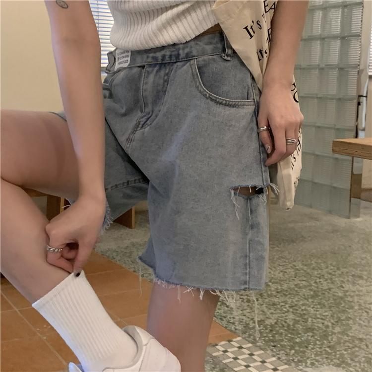 韓国 ファッション パンツ ショート ボトムス 春 夏 カジュアル PTXK553  カットオフデニム ダメージ アシメ ゆったり オルチャン シンプル 定番 セレカジの写真9枚目